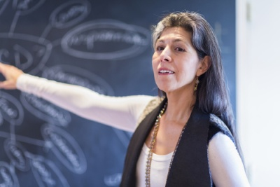 Hispanic businesswoman drawing flow chart on blackboard